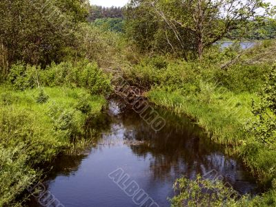 small river flows from lake