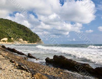 Rocky coast of Black sea, Krasnodar, Russia