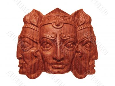 Trimurti wooden mask