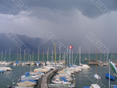 Bad weather in the port