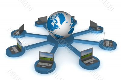 Global network the Internet. 3D image.