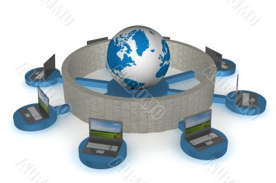 The protected global network the Internet. 3D image.