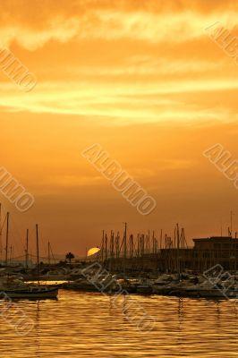 Sunset in port of Santa Pola