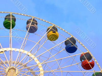 Big ferris wheel on blue sky