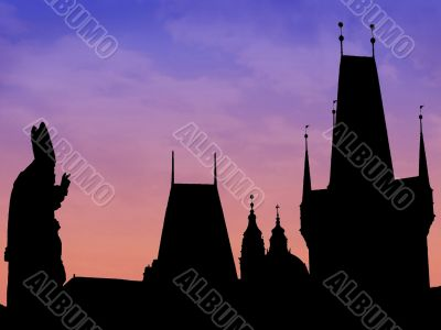 Prague skyline silhouette