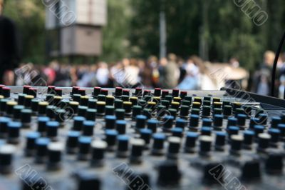 mixing desk on open air