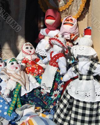 Traditional dolls at spring fair.