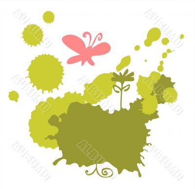 Butterfly and green blots