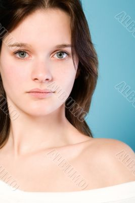 Portrait of a straight looking woman