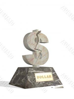 3d statue of dollar with a crack