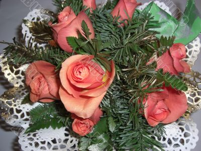 bouquet of roses and spruce