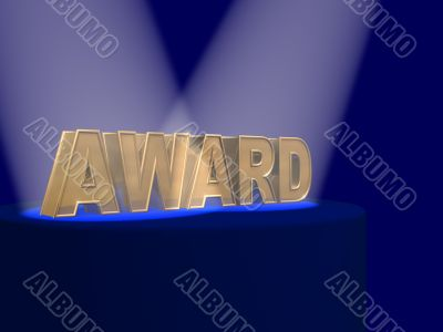 The gold letters AWARD covered by projectors
