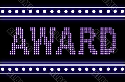 The word AWARD made from blue of lamps