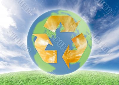Ecology symbol over earth.