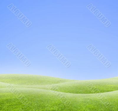 Simple curved blue and green horizon background