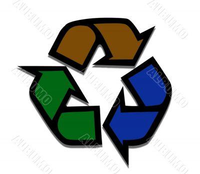 THree coloured Recycling Symbol