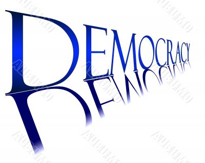 Blue Democracy banner with reflection