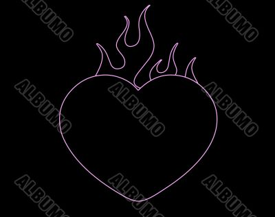 flaming heart outline