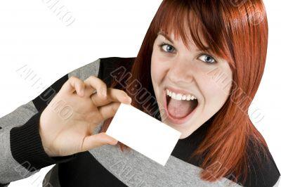 Cute redhead holding blank business card