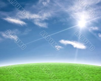 Beautiful blue and green background with sun flare