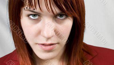 Aggressive girl staring at camera