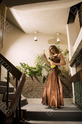 champagne in the staircase