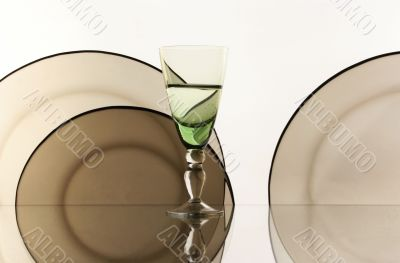 Glass on the white background