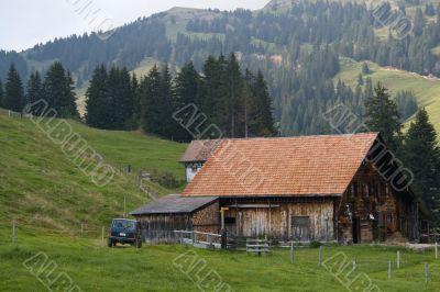 Cattle-breeding farm. Swiss Farm and yard.