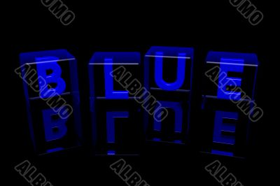 Word `Blue` made  of glass cubes