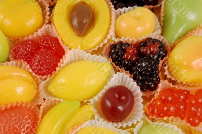 Multi-coloured fruit candy