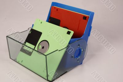 Computer diskettes of different colors