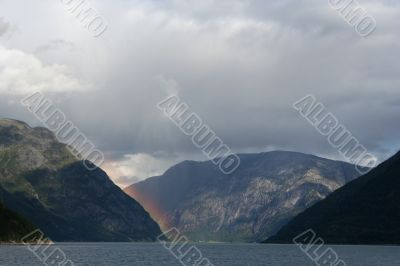 Rainbow in a Norwegian Fjord on the west coast of Norway.