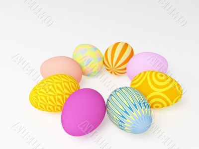 The easter eggs painted in different colors