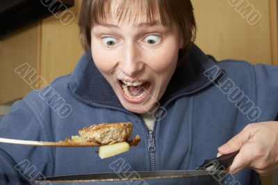 frightened cook woman