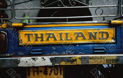 Thailand label on pickup truck