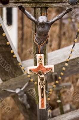New and old crosses with Jesus figures