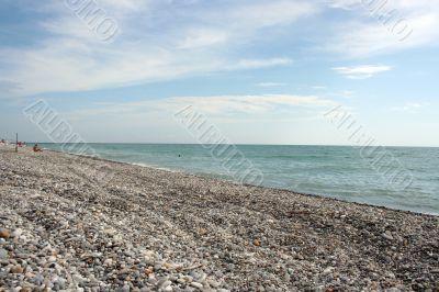 stony empty beach