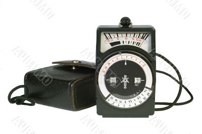 Vintage light meter and its case.