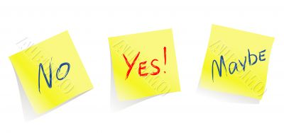 Yes / No / Maybe / yellow note pages / vector
