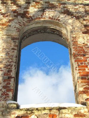 background frame of ancient ruin arc window colors