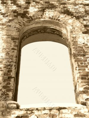 background frame of ancient ruin arc window sepia tone