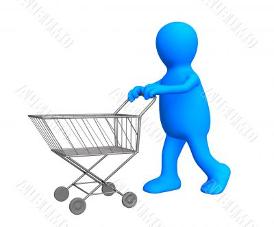 The 3d stylized person going for purchases