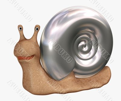 Smiling 3d snail with a bowl from  metal