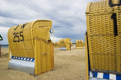 Beach wicker chairs in Germany