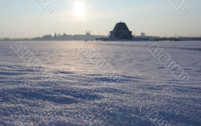 The frozen river in the centre of Kazan.