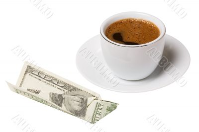american dollars with white coffee cup