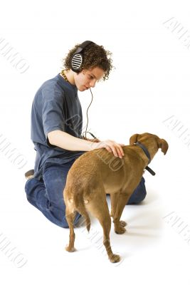 Modern boy with his dog