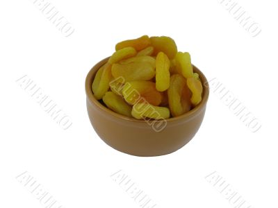 Dried apricots in dish