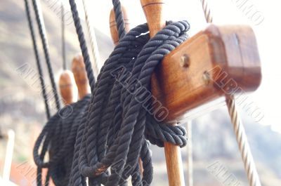 ship tower, crows nest, ropes