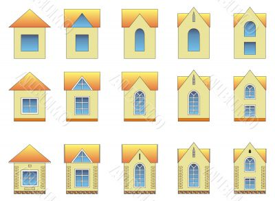 Set of different style house images